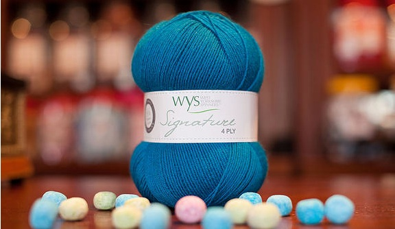 West Yorkshire Spinners Signature 4ply Sweet Shop in the colour way 'Blueberry Bon Bon'. Image Copyright West Yorkshire Spinners.